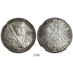 Saxe-Weimar-Eisenach (German States), 5 mark, 1908A, encapsulated NGC MS 64.