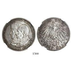 Saxony-Albertine (German States), 5 mark, 1909, Leipzig University 500th anniversary, encapsulated N