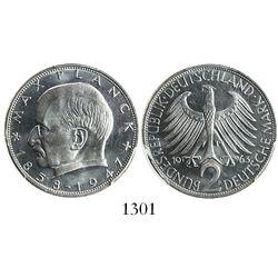 West Germany (German States), copper-nickel 2 mark, 1963-F (Stuttgart mint), encapsulated PCGS MS66+