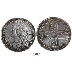London, England, 1/2 crown, George II, 1746, LIMA below bust.