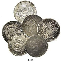 Lot of 6 Guatemala pillar 4 reales, Ferdinand VI and Charles III, various dates (1755J, 1756J, 1759P