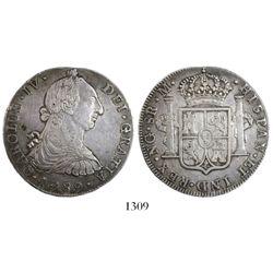 Guatemala, bust 8 reales, Charles IV transitional (bust of Charles III, ordinal IV), 1789M, rare.
