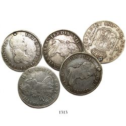 Lot of 5 Guatemala bust 8 reales, Charles IV and Ferdinand VII, various dates (1808M, 1810M, 1814M,