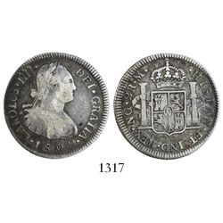 Guatemala, bust 2 reales, Charles IV, 1802M.
