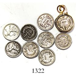 """Lot of 9 Guatemala """"lion-type"""" 1/4R, 1861-9, one with 12K gold-filled bezel."""