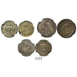 Lot of 3 Haiti 25 centimes, AN 10 (1813), AN 12 (1815) and AN 12 (1815), encapsulated NGC AU 58, 58