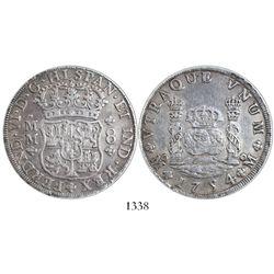 Mexico City, Mexico, pillar 8 reales, Ferdinand VI, 1754MM, encapsulated PCGS AU50.