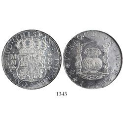 Mexico City, Mexico, pillar 8 reales, Charles III, 1760MM, encapsulated NGC AU 55.