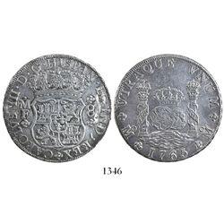 Mexico City, Mexico, pillar 8 reales, Charles III, 1765MF.