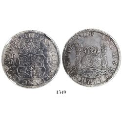 Mexico City, Mexico, pillar 8 reales, Charles III, 1771FM, encapsulated NGC XF details / surface hai