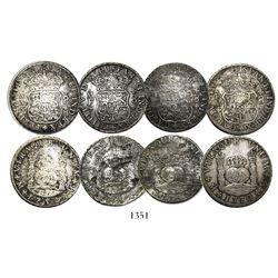 Lot of 4 Mexico City, Mexico, pillar 8 reales, Philip V through Charles III, various dates (1740MF,
