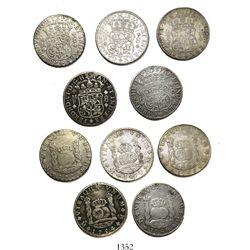 Lot of 5 Mexico City, Mexico, pillar 8 reales, Ferdinand VI and Charles III, as follows: 1754MF, 176
