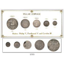Denomination set of Mexico City, Mexico, pillar 8, 4, 2, 1 and 1/2 reales, Philip V through Charles