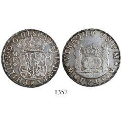 Mexico City, Mexico, pillar 4 reales, Philip V, 1745MF.