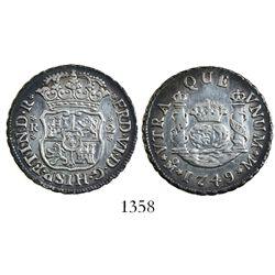 Mexico City, Mexico, pillar 2 reales, Ferdinand VI, 1749M.
