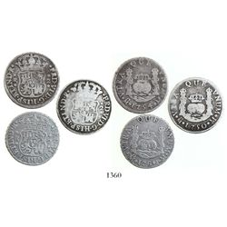 Lot of 3 Mexico City, Mexico, pillar 2 reales, Ferdinand VI, various dates (1750M, 1754M and 1760M).