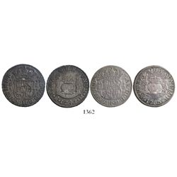 Lot of 2 Mexico City, Mexico, pillar 2 reales: Ferdinand VI, 1747M, and Charles III, 1765M.