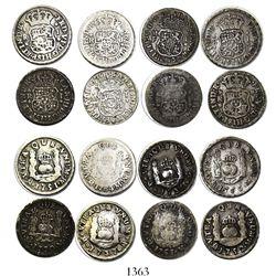 Lot of 8 Mexico City, Mexico, pillar 1R, Philip V through Charles III, various dates (1735MF, 1737MF