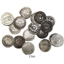 Lot of 17 Mexico City, Mexico, pillar 1/2R, Philip V through Charles III, various dates (1741MF, 174