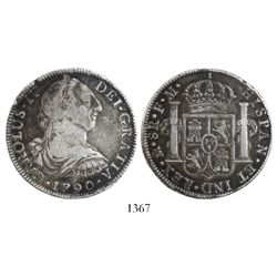 Mexico City, Mexico, bust 8 reales, Charles IV transitional (bust of Charles III, ordinal IV), 1790F
