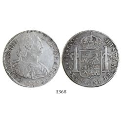 Mexico City, Mexico, bust 8 reales, Charles IV, 1792FM.
