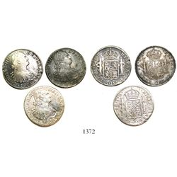 Lot of 3 Mexico City, Mexico, bust 8 reales, Charles IV, as follows: 1804TH and 1805TH (2).