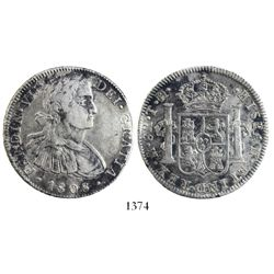 """Mexico City, Mexico, bust 8 reales, Ferdinand VII transitional (""""armored"""" bust), 1808TH."""