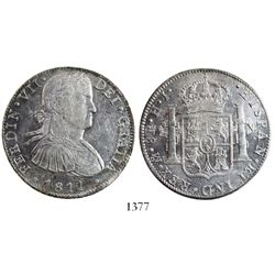 """Mexico City, Mexico, bust 8 reales, Ferdinand VII transitional (""""armored"""" bust), 1811HJ."""