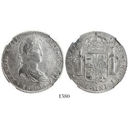 Mexico City, Mexico, bust 8 reales, Ferdinand VII, 1820JJ, encapsulated NGC AU 55.
