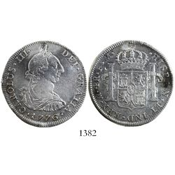 Mexico City, Mexico, bust 4 reales, Charles III, 1776FM, popular date.