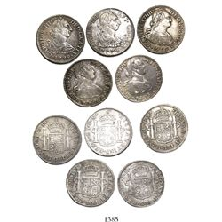 Lot of 5 Mexico City, Mexico, bust 2 reales, Charles III and IV, various dates (1774FM, 1779FF, 1799