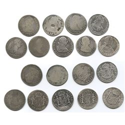 Lot of 9 Mexico City, Mexico, bust 2 reales, Charles III through Ferdinand VII, various dates (1772F