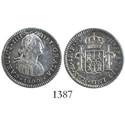 Mexico City, Mexico, bust 1 real, Charles IV,1800FM.