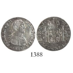 """Mexico City, Mexico, bust 1 real, Ferdinand VII transitional (""""armored"""" bust), 1811HJ."""