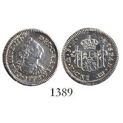 Mexico City, Mexico, bust 1/2 real, Charles III, 1773FM, initials facing inward.