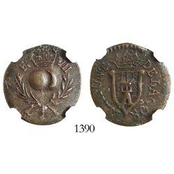 Mexico (Lagos), copper 1/4 real, Ferdinand VII, (1803), encapsulated NGC VF details / environmental