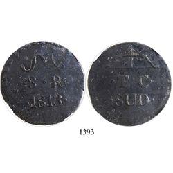 Oaxaca/SUD/Tierra Caliente (Morelos), Mexico, copper 8 reales, 1813, encapsulated NGC VF 20 BN.