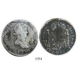 Zacatecas, Mexico, bust 8 reales, Ferdinand VII, 1820AG, small bust.