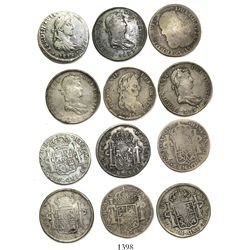 Lot of 6 Mexican War of Independence bust 8 reales, Ferdinand VII, various mints and dates.