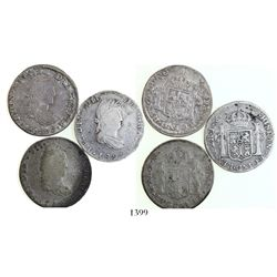 Lot of 3 Mexican War of Independence bust 2 reales, Ferdinand VII, various mints and dates (1819AG,