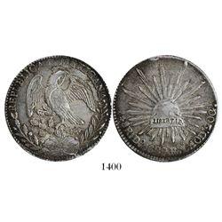Durango, Mexico, cap-and-rays 8 reales, 1829RL.