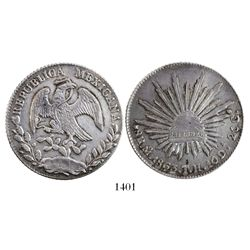 Mexico City, Mexico, cap-and-rays 8 reales, 1863TH.