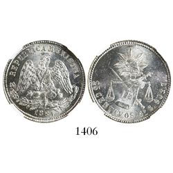 Guanajuato, Mexico, 25 centavos, 1881S, encapsulated NGC MS 64.