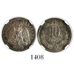Hermosillo, Mexico, 10 centavos, 1882A, encapsulated NGC AU 58.