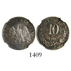Mexico City, Mexico, 10 centavos, 1890M, encapsulated NGC MS 63.