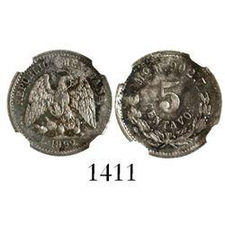 Mexico City, Mexico, 5 centavos, 1892M, encapsulated NGC MS 63.