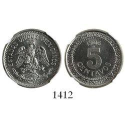 Mexico City, Mexico, nickel 5 centavos, 1906M, encapsulated NGC MS 65.