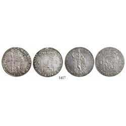Lot of 2 Netherlands East Indies 1 gulden: Gelderland 1762 and Overijssel 1764.
