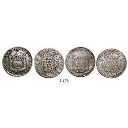 Lot of 2 Lima, Peru, pillar 8 reales, Charles III: 1762JM and 1766JM.