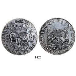 Lima, Peru, pillar 8 reales, Charles III, 1769JM, late-style 6 in date.